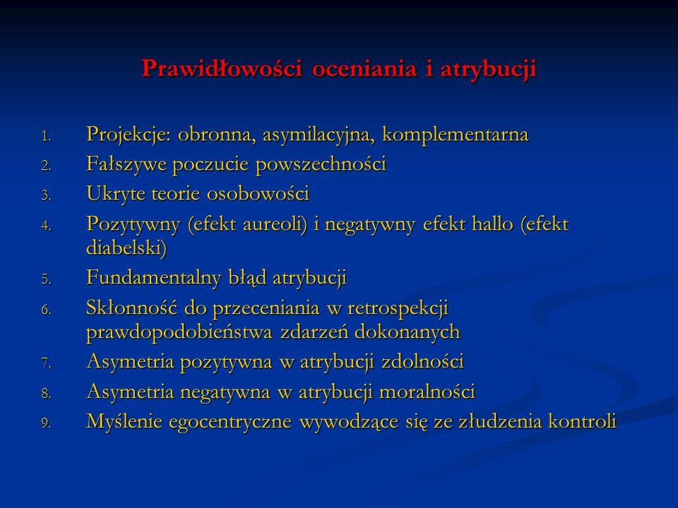 Prawidłowości oceniania i atrybucji 1. Projekcje: obronna, asymilacyjna, komplementarna 2. Fałszywe poczucie powszechności 3. Ukryte teorie osobowości