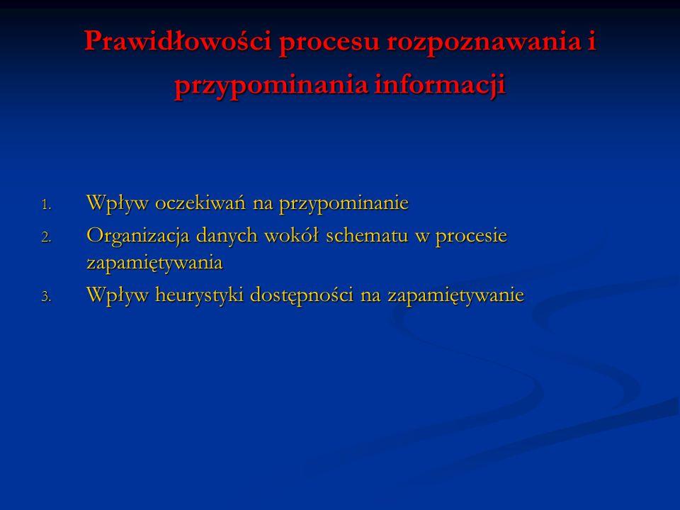 Prawidłowości procesu rozpoznawania i przypominania informacji 1. Wpływ oczekiwań na przypominanie 2. Organizacja danych wokół schematu w procesie zap