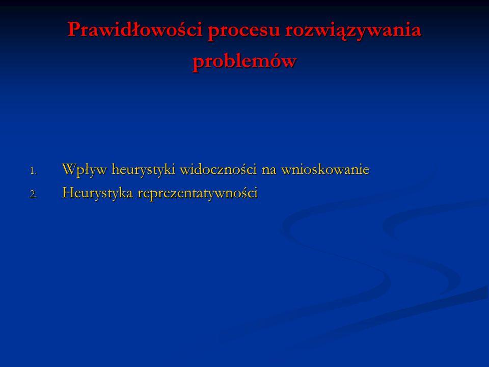 Prawidłowości procesu rozwiązywania problemów 1. Wpływ heurystyki widoczności na wnioskowanie 2. Heurystyka reprezentatywności