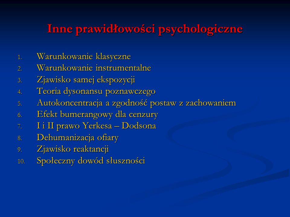 Inne prawidłowości psychologiczne 1. Warunkowanie klasyczne 2. Warunkowanie instrumentalne 3. Zjawisko samej ekspozycji 4. Teoria dysonansu poznawczeg