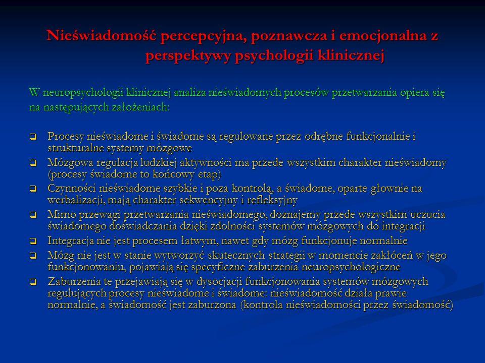 Nieświadomość percepcyjna, poznawcza i emocjonalna z perspektywy psychologii klinicznej W neuropsychologii klinicznej analiza nieświadomych procesów p