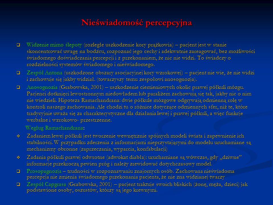 Nieświadomość poznawcza Amnezja – niepamięć zdarzeń bieżących (amnezja następcza), uprzednich (wsteczna), dezorientacje w miejscu i czasie, konfabulacje (zmyślenia).