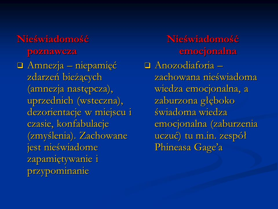 Nieświadomość poznawcza Amnezja – niepamięć zdarzeń bieżących (amnezja następcza), uprzednich (wsteczna), dezorientacje w miejscu i czasie, konfabulac