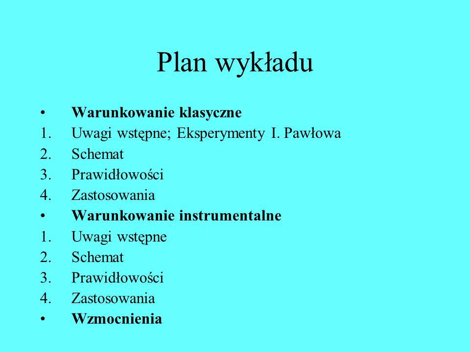 Plan wykładu Warunkowanie klasyczne 1.Uwagi wstępne; Eksperymenty I.