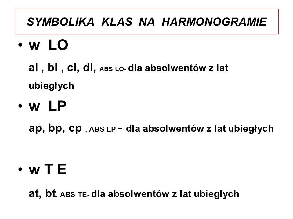 HARMONOGRAM EGZAMINU MATURALNEGO W ZSE IM.A. I J.