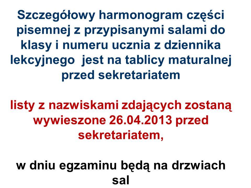 Egzamin ustny z języka obcego GODZINY EGZAMINU MATURALNEGO Kolejność zdających według listyGodziny egzaminu 1 8.00 – 8.15 2 8.20 – 8.35 3 8.40 – 8.55 4 9.00 – 9.15 5 9.20 – 9.35 6 9.40 – 9.55 7 10.00 – 10.15 8 10.20 – 10.35 9 10.40 – 10.55 10 11.00 – 11.15 11 11.20 – 11.35 12 11.40 – 11.55 PRZERWA (1 godz.) 13 13.00 – 13.15 14 13.20 – 13.35 15 13.40 – 13.55 16 14.00 – 14.15 17 14.20 – 14.35 18 14.40 – 14.55 19 15.00 – 15.15 20 15.20 – 15.35 21 15.40 – 15.55 22 16.00 – 16.15