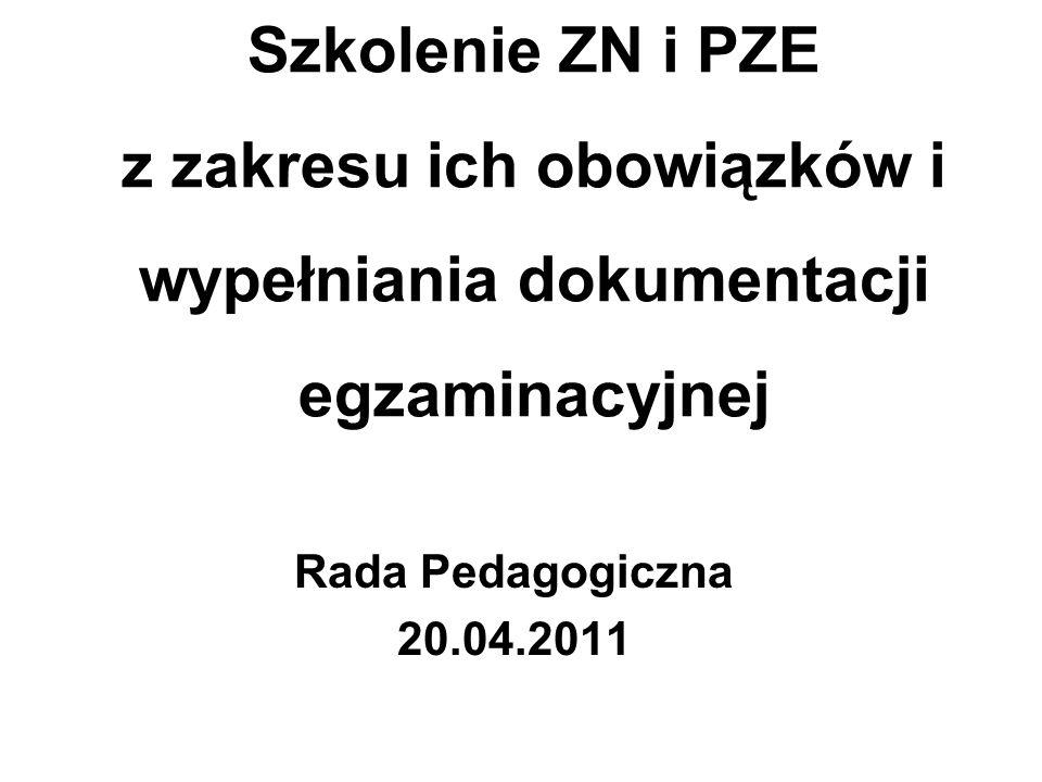 Szkolenie ZN i PZE z zakresu ich obowiązków i wypełniania dokumentacji egzaminacyjnej Rada Pedagogiczna 20.04.2011