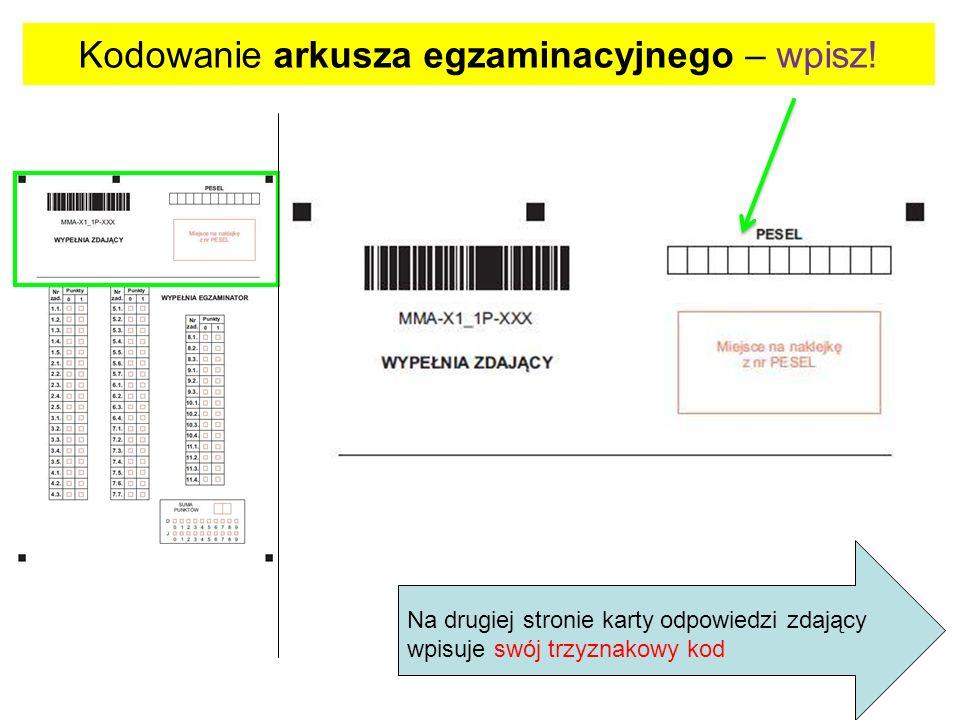 Na drugiej stronie karty odpowiedzi zdający wpisuje swój trzyznakowy kod