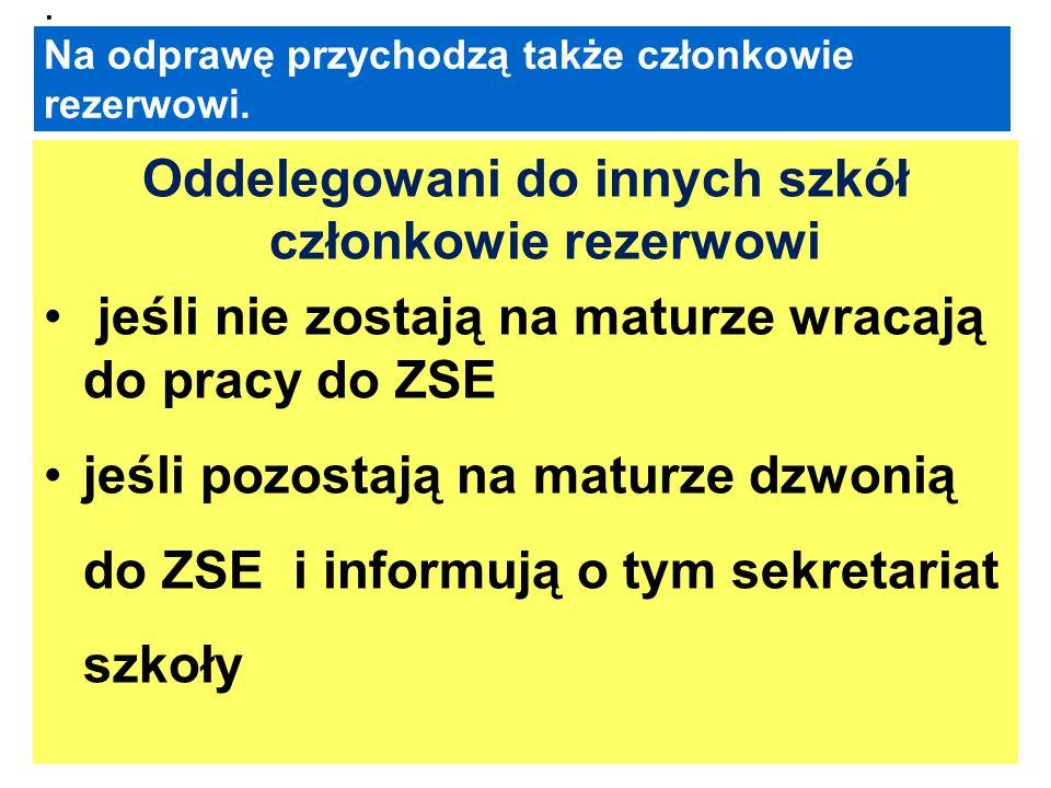Odprawa przed egzaminem Nauczyciele oddelegowani na egzaminy ustne do PZE zgłaszają się : na Elsnera – godz.7.45 ( egzamin o 8.00 ) na Magnoliową – godz.7.45 ( egzamin o 8.00) W ZSE – godz 7.45 (egzamin o 8.00 )