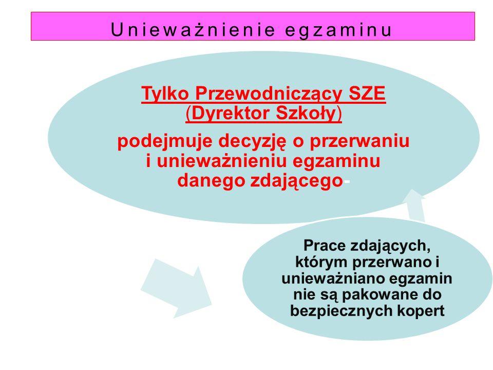 Unieważnienie egzaminu Tylko Przewodniczący SZE (Dyrektor Szkoły) podejmuje decyzję o przerwaniu i unieważnieniu egzaminu danego zdającego- Prace zdaj