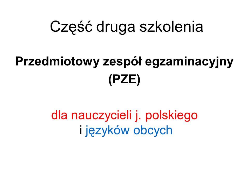 Część druga szkolenia Przedmiotowy zespół egzaminacyjny (PZE) dla nauczycieli j. polskiego i języków obcych