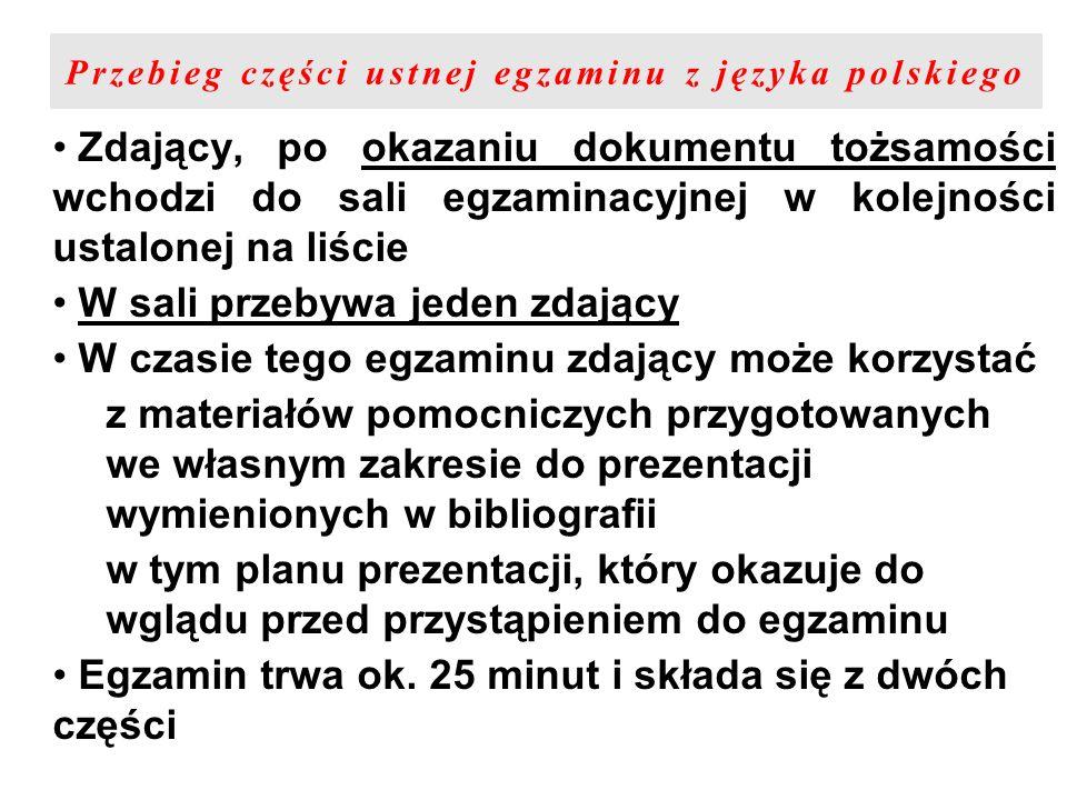 Przebieg części ustnej egzaminu z języka polskiego Zdający, po okazaniu dokumentu tożsamości wchodzi do sali egzaminacyjnej w kolejności ustalonej na