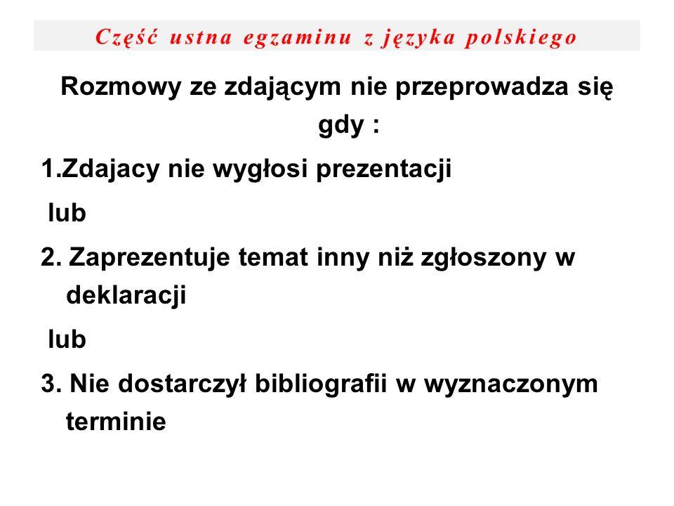 Część ustna egzaminu z języka polskiego Rozmowy ze zdającym nie przeprowadza się gdy : 1.Zdajacy nie wygłosi prezentacji lub 2. Zaprezentuje temat inn