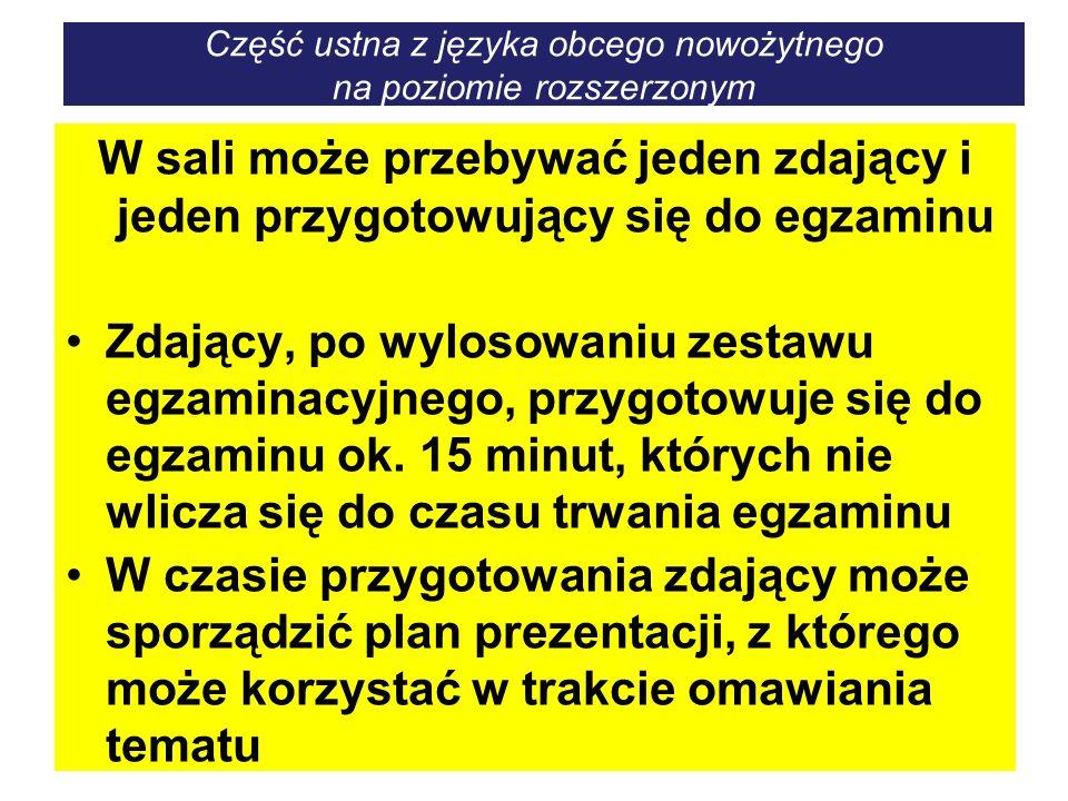 Część ustna z języka obcego nowożytnego na poziomie rozszerzonym W sali może przebywać jeden zdający i jeden przygotowujący się do egzaminu Zdający, p