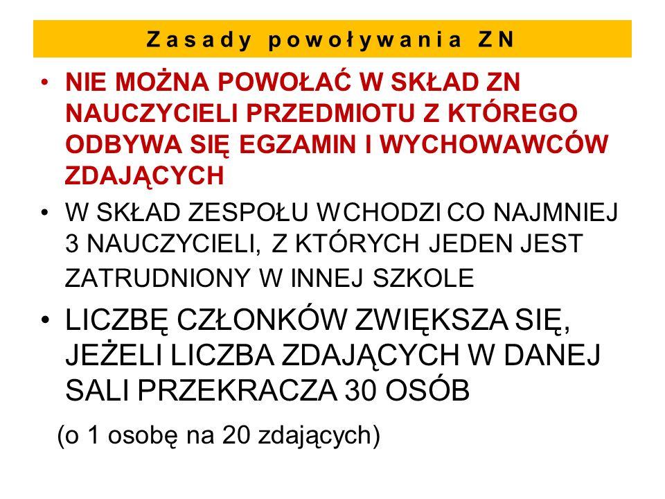 Przebieg części pisemnej i obowiązki ZN - 2 2.