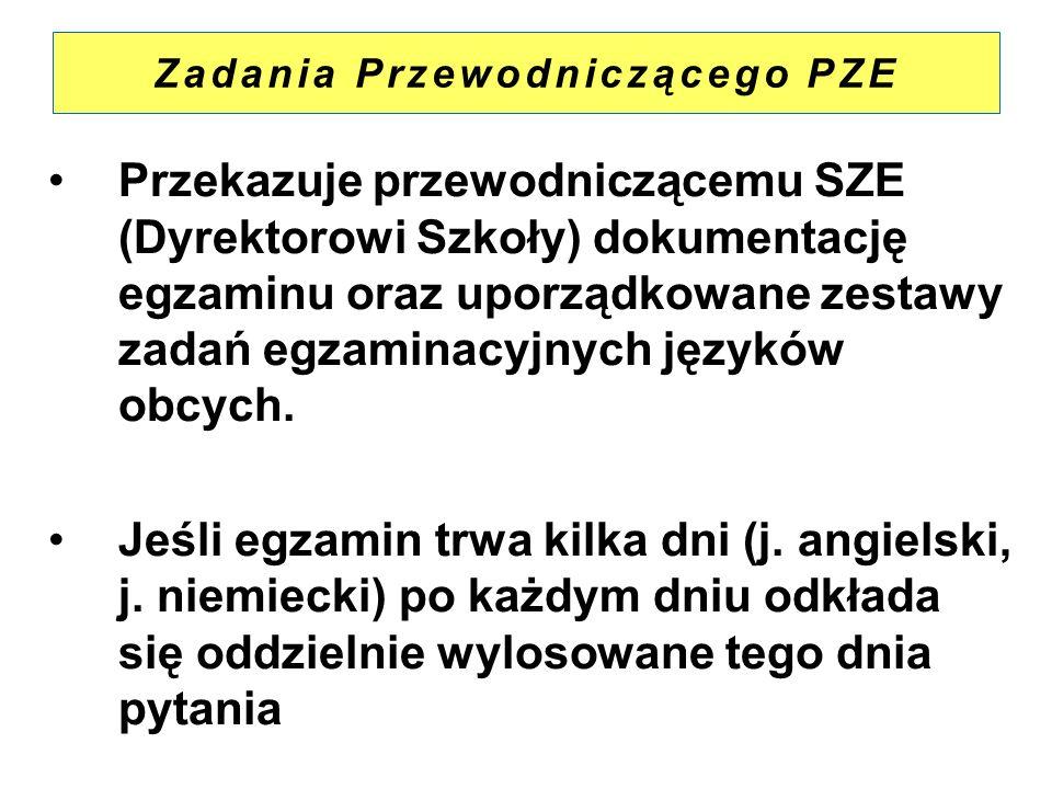 Zadania Przewodniczącego PZE Przekazuje przewodniczącemu SZE (Dyrektorowi Szkoły) dokumentację egzaminu oraz uporządkowane zestawy zadań egzaminacyjny