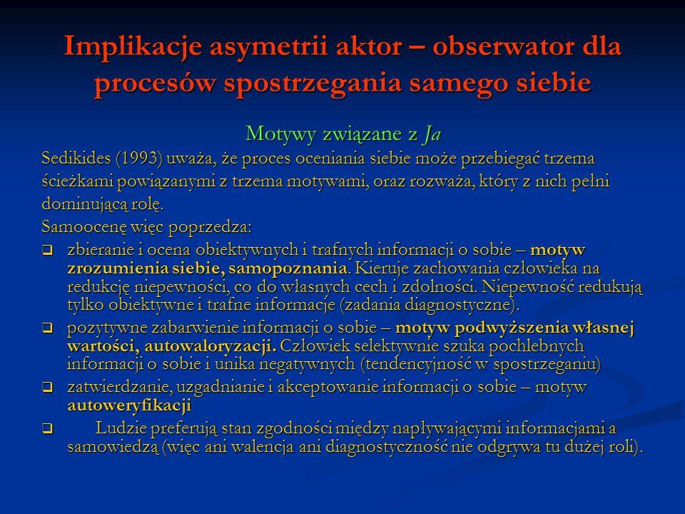 Implikacje asymetrii aktor – obserwator dla procesów spostrzegania samego siebie Motywy związane z Ja Sedikides (1993) uważa, że proces oceniania sieb