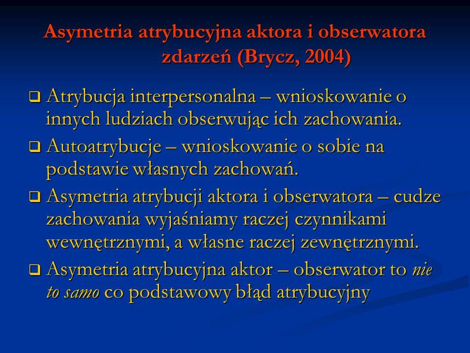 Asymetria atrybucyjna aktora i obserwatora zdarzeń (Brycz, 2004) Poznawcze i motywacyjne (Jones i Nisbett) Poznawcze i motywacyjne (Jones i Nisbett) Poznawcze: Poznawcze: dostęp do innego poziomu informacji, dostęp do innego poziomu informacji, różnice w procesie uwagi (zmiana perspektywy powoduje odwrócenie różnice w procesie uwagi (zmiana perspektywy powoduje odwrócenie efektu) efektu) Motywacyjne: odmienne typy motywacji Motywacyjne: odmienne typy motywacji obserwator – motywem zrozumienie, kontrolowanie i przewidywanie obserwator – motywem zrozumienie, kontrolowanie i przewidywanie zachowań innych.