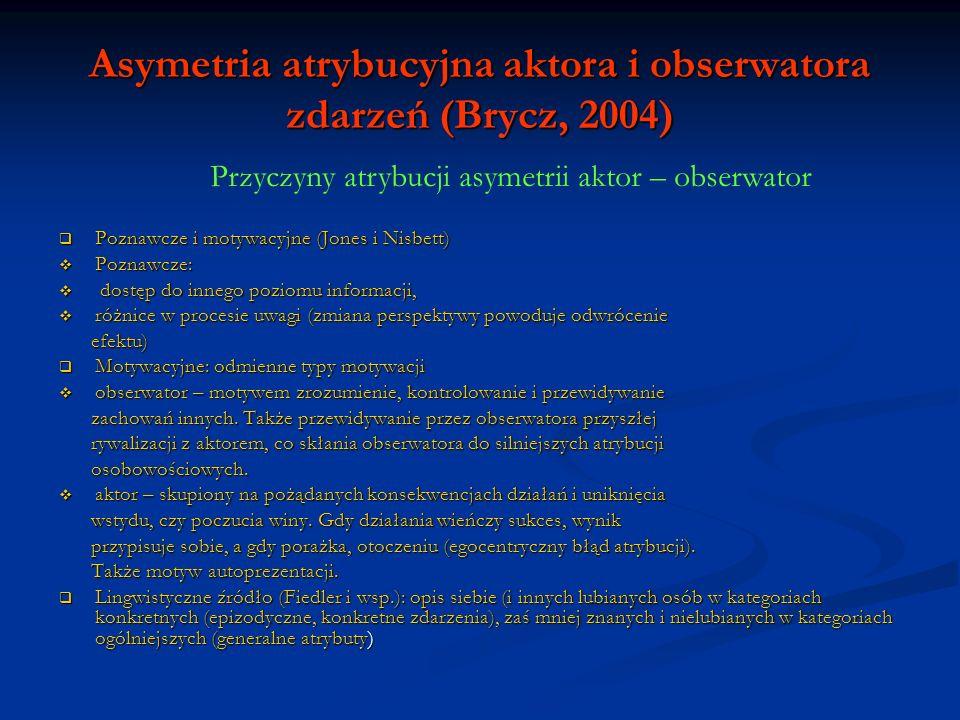 Asymetria atrybucyjna aktora i obserwatora zdarzeń (Brycz, 2004) Poznawcze i motywacyjne (Jones i Nisbett) Poznawcze i motywacyjne (Jones i Nisbett) P