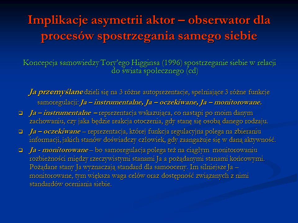 Implikacje asymetrii aktor – obserwator dla procesów spostrzegania samego siebie Koncepcja samowiedzy Toryego Higginsa (1996) spostrzeganie siebie w relacji do świata społecznego (cd) Silne Ja – przemyślane jest: dostępne – posiada duży potencjał aktywacji dostępne – posiada duży potencjał aktywacji angażujące – jednostki samowiedzy posiadają dużą siłę proceduralną angażujące – jednostki samowiedzy posiadają dużą siłę proceduralną spójne – siły proceduralne jednostek samowiedzy działają w tym samym kierunku spójne – siły proceduralne jednostek samowiedzy działają w tym samym kierunku Ja – przemyślane należy odróżnić od poczucia własnej wartości, które zawiera generalną ocenę siebie, w kategoriach aprobaty czy dezaprobaty.