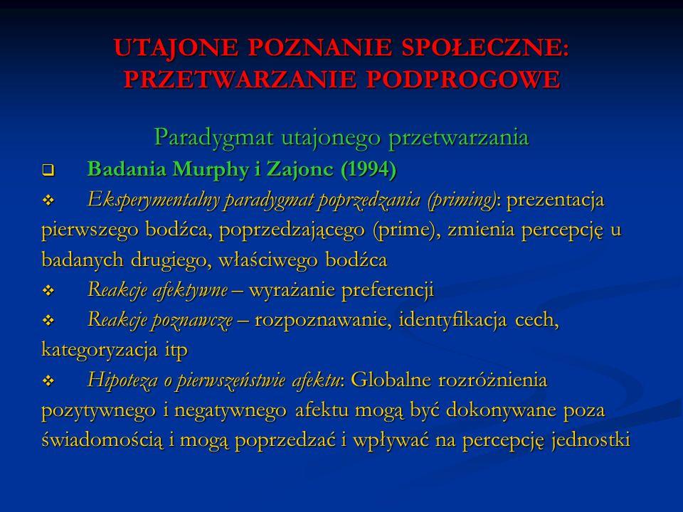 UTAJONE POZNANIE SPOŁECZNE: PRZETWARZANIE PODPROGOWE Paradygmat utajonego przetwarzania Badania Murphy i Zajonc (1994) Badania Murphy i Zajonc (1994)