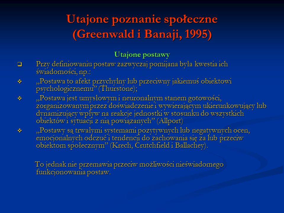 Utajone poznanie społeczne (Greenwald i Banaji, 1995) Utajone postawy Natomiast w definicjach operacyjnych (pomiar) wyraźne założenie świadomego charakteru postaw.