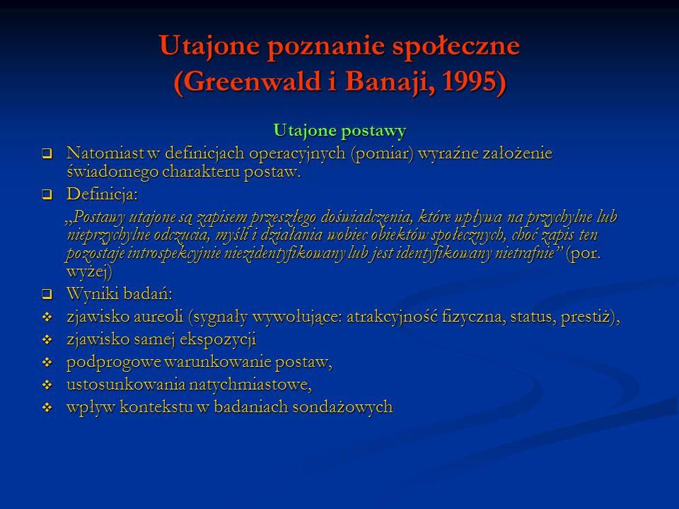 Utajone poznanie społeczne (Greenwald i Banaji, 1995) Utajone wartościowanie siebie Utajone wartościowanie własnej osoby polega na wpływie pozytywnej postawy wobec samego siebie na przychylne bądź nieprzychylne ocenianie obiektów skojarzonych z własną osobą, przy czym wpływ ten....(por.
