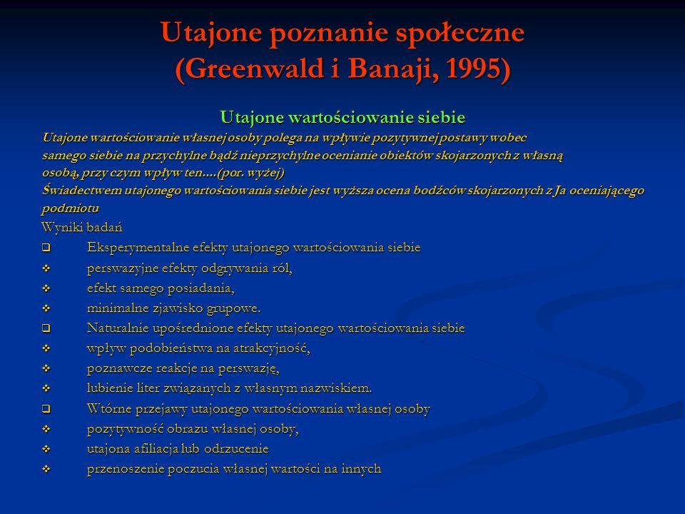 Utajone poznanie społeczne (Greenwald i Banaji, 1995) Utajone wartościowanie siebie Utajone wartościowanie własnej osoby polega na wpływie pozytywnej