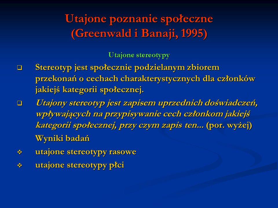Utajone poznanie społeczne (Greenwald i Banaji, 1995) Utajone stereotypy Stereotyp jest społecznie podzielanym zbiorem przekonań o cechach charakterys