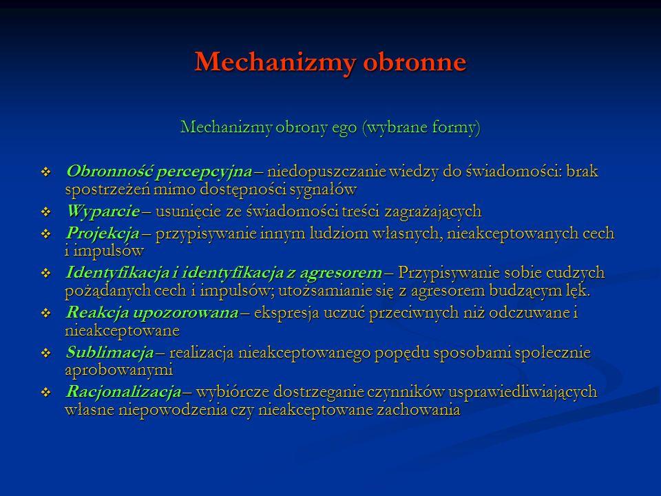 Mechanizmy obronne Mechanizmy obrony ego (wybrane formy) Obronność percepcyjna – niedopuszczanie wiedzy do świadomości: brak spostrzeżeń mimo dostępno