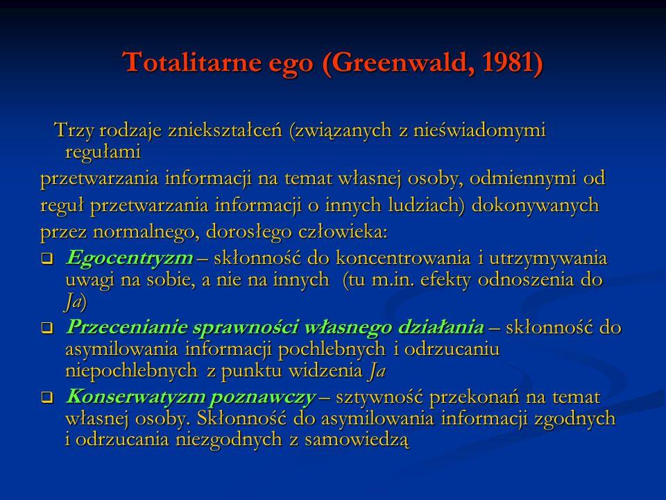 Totalitarne ego (Greenwald, 1981) Trzy rodzaje zniekształceń (związanych z nieświadomymi regułami Trzy rodzaje zniekształceń (związanych z nieświadomy