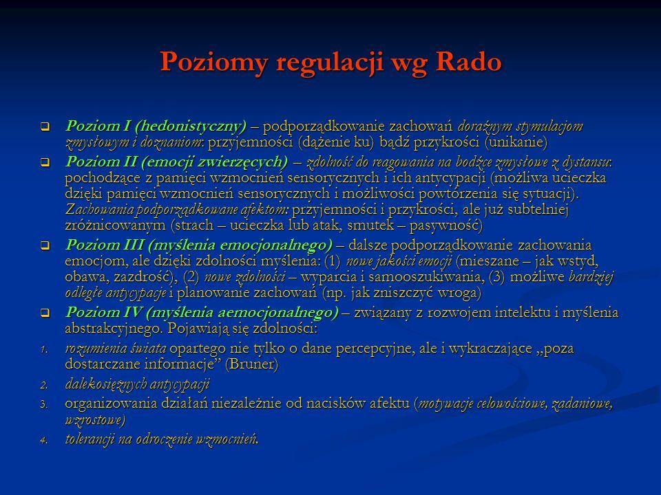 Poziomy regulacji wg Rado Poziom I (hedonistyczny) – podporządkowanie zachowań doraźnym stymulacjom zmysłowym i doznaniom: przyjemności (dążenie ku) b
