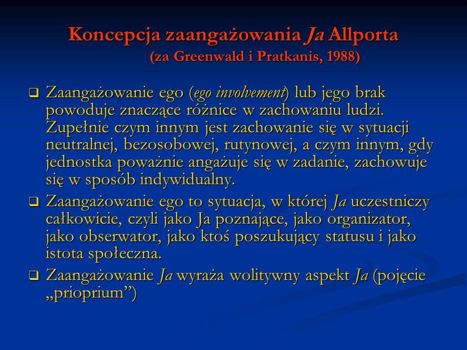 Koncepcja zaangażowania Ja Allporta (za Greenwald i Pratkanis, 1988) Zaangażowanie ego (ego involvement) lub jego brak powoduje znaczące różnice w zac