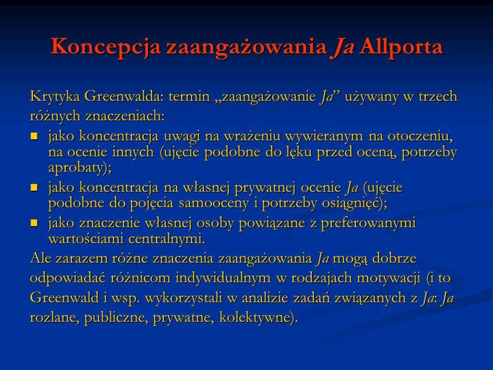 Koncepcja zaangażowania Ja Allporta Krytyka Greenwalda: termin zaangażowanie Ja używany w trzech różnych znaczeniach: jako koncentracja uwagi na wraże