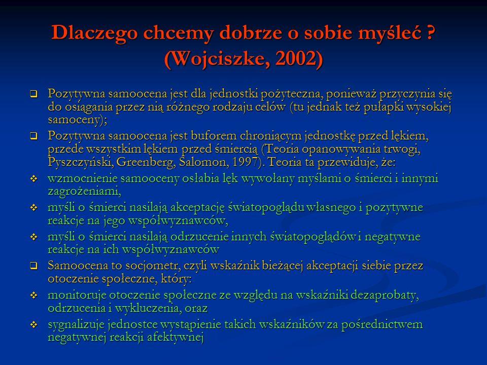 Dlaczego chcemy dobrze o sobie myśleć ? (Wojciszke, 2002) Pozytywna samoocena jest dla jednostki pożyteczna, ponieważ przyczynia się do osiągania prze