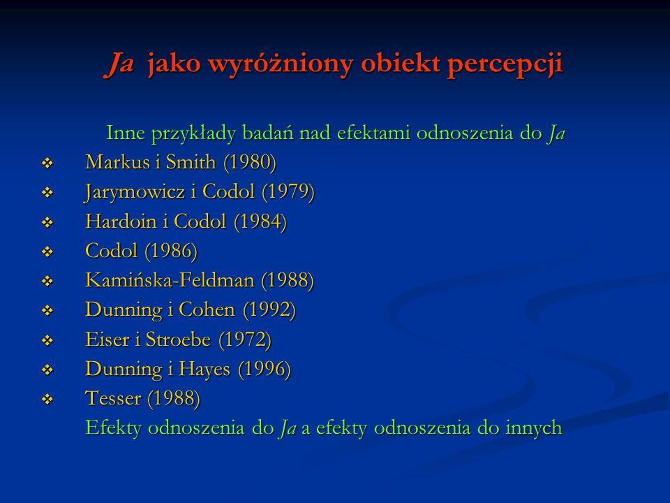 Ja jako wyróżniony obiekt percepcji Inne przykłady badań nad efektami odnoszenia do Ja Markus i Smith (1980) Markus i Smith (1980) Jarymowicz i Codol