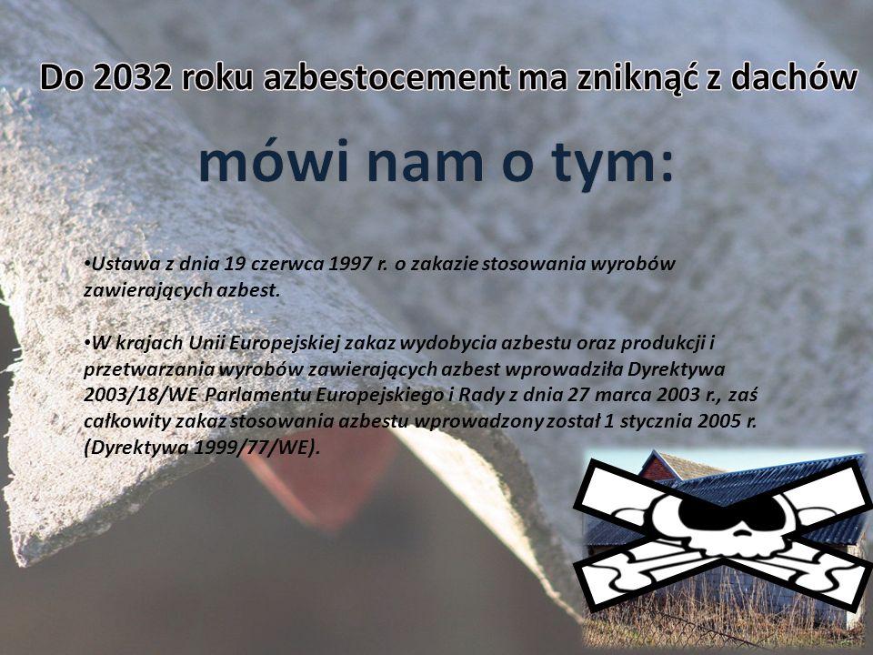 Ustawa z dnia 19 czerwca 1997 r. o zakazie stosowania wyrobów zawierających azbest. W krajach Unii Europejskiej zakaz wydobycia azbestu oraz produkcji