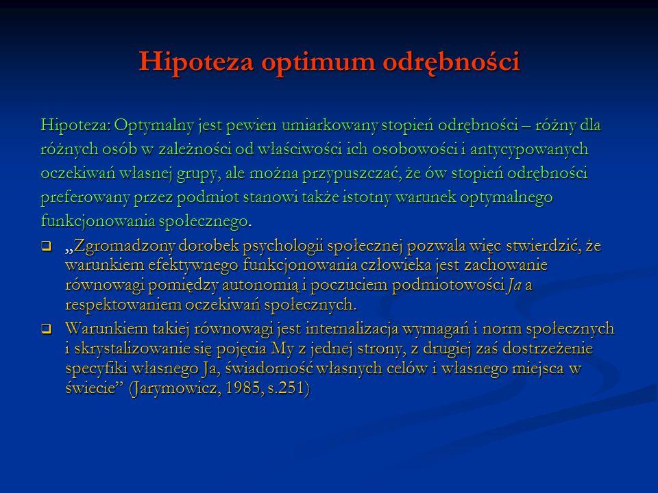 Hipoteza optimum odrębności Hipoteza: Optymalny jest pewien umiarkowany stopień odrębności – różny dla różnych osób w zależności od właściwości ich os