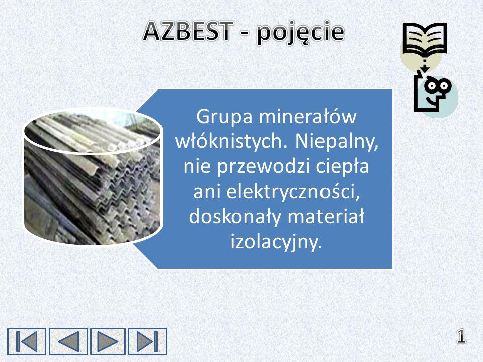 Grupa minerałów włóknistych. Niepalny, nie przewodzi ciepła ani elektryczności, doskonały materiał izolacyjny.