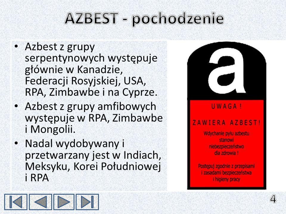 Azbest z grupy serpentynowych występuje głównie w Kanadzie, Federacji Rosyjskiej, USA, RPA, Zimbawbe i na Cyprze. Azbest z grupy amfibowych występuje