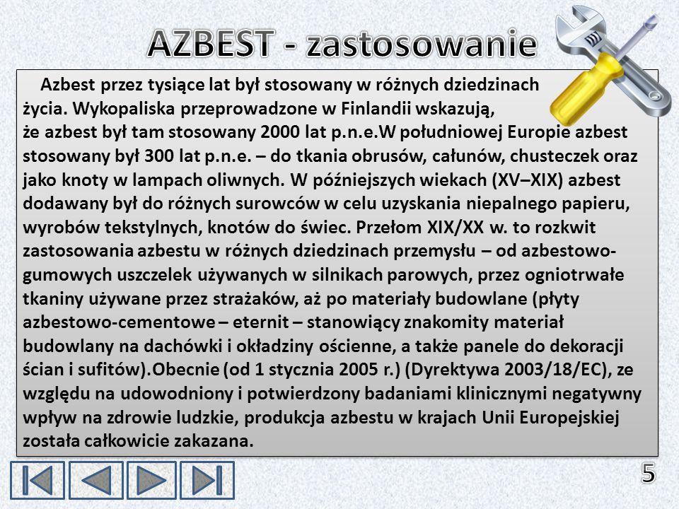 Azbest przez tysiące lat był stosowany w różnych dziedzinach życia. Wykopaliska przeprowadzone w Finlandii wskazują, że azbest był tam stosowany 2000