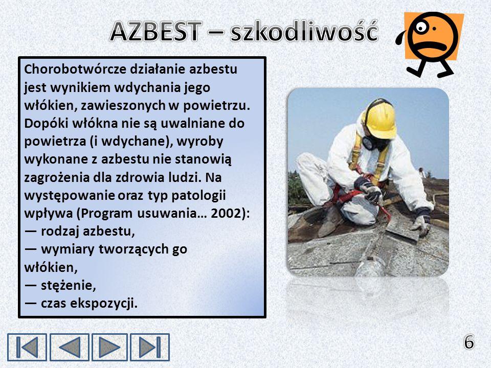 Chorobotwórcze działanie azbestu jest wynikiem wdychania jego włókien, zawieszonych w powietrzu. Dopóki włókna nie są uwalniane do powietrza (i wdycha