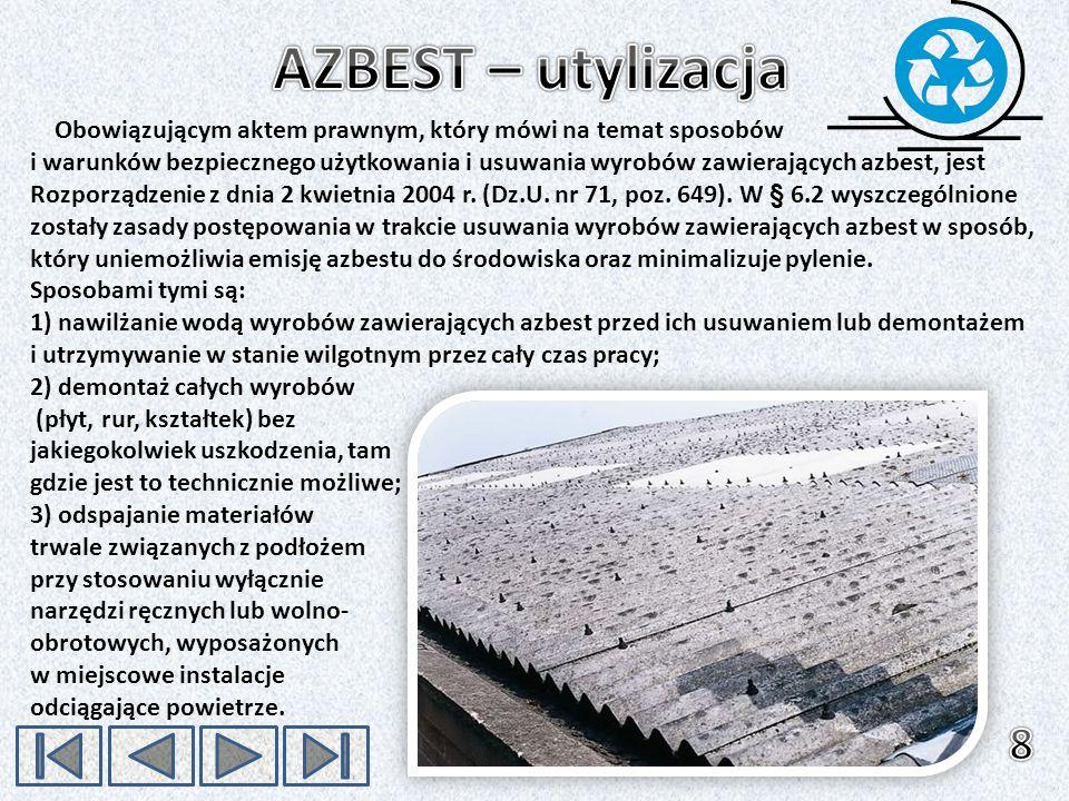 Obowiązującym aktem prawnym, który mówi na temat sposobów i warunków bezpiecznego użytkowania i usuwania wyrobów zawierających azbest, jest Rozporządz