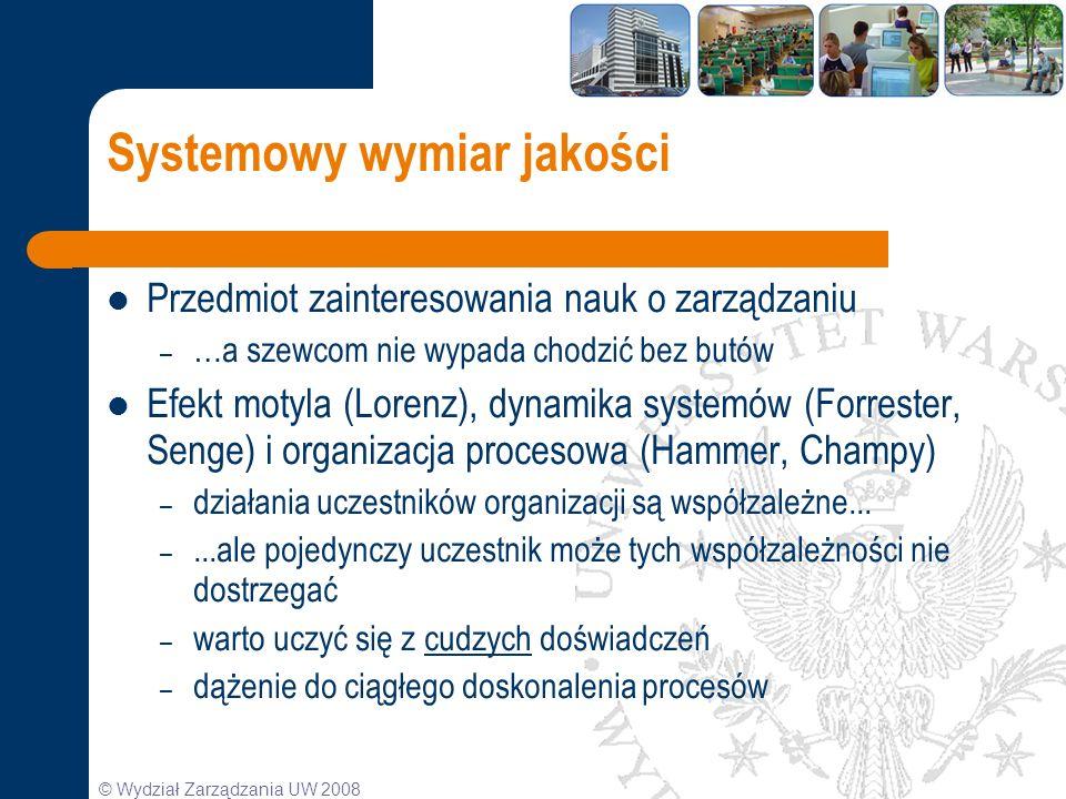 © Wydział Zarządzania UW 2008 Systemowy wymiar jakości Przedmiot zainteresowania nauk o zarządzaniu – …a szewcom nie wypada chodzić bez butów Efekt mo