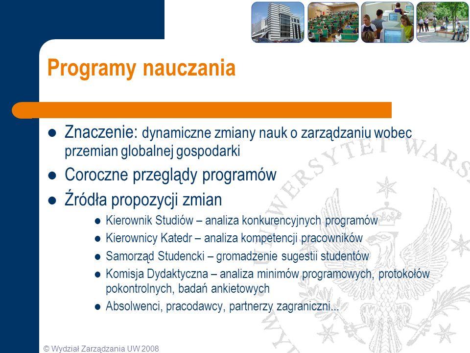 © Wydział Zarządzania UW 2008 Programy nauczania Znaczenie: dynamiczne zmiany nauk o zarządzaniu wobec przemian globalnej gospodarki Coroczne przegląd