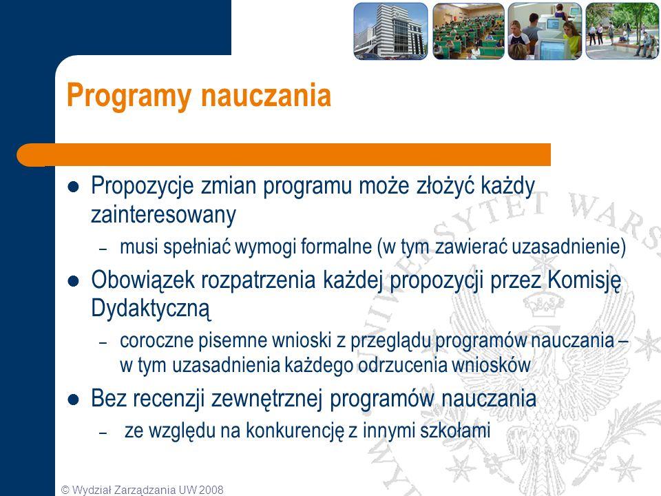 © Wydział Zarządzania UW 2008 Programy nauczania Propozycje zmian programu może złożyć każdy zainteresowany – musi spełniać wymogi formalne (w tym zaw