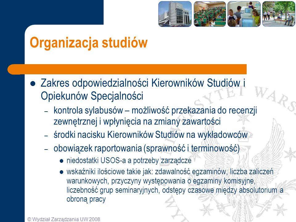 © Wydział Zarządzania UW 2008 Organizacja studiów Zakres odpowiedzialności Kierowników Studiów i Opiekunów Specjalności – kontrola sylabusów – możliwo