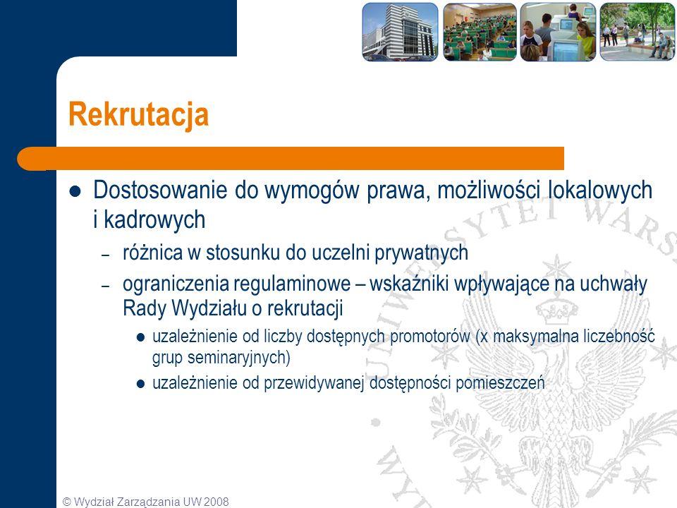 © Wydział Zarządzania UW 2008 Rekrutacja Dostosowanie do wymogów prawa, możliwości lokalowych i kadrowych – różnica w stosunku do uczelni prywatnych –