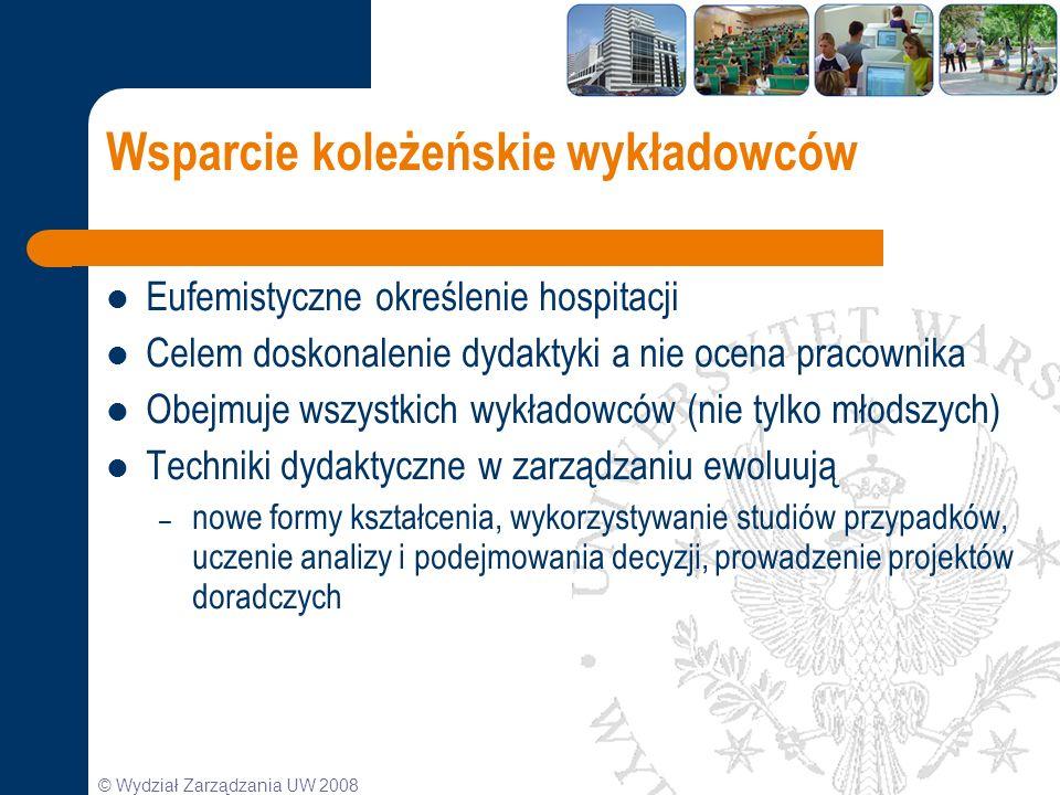 © Wydział Zarządzania UW 2008 Wsparcie koleżeńskie wykładowców Eufemistyczne określenie hospitacji Celem doskonalenie dydaktyki a nie ocena pracownika