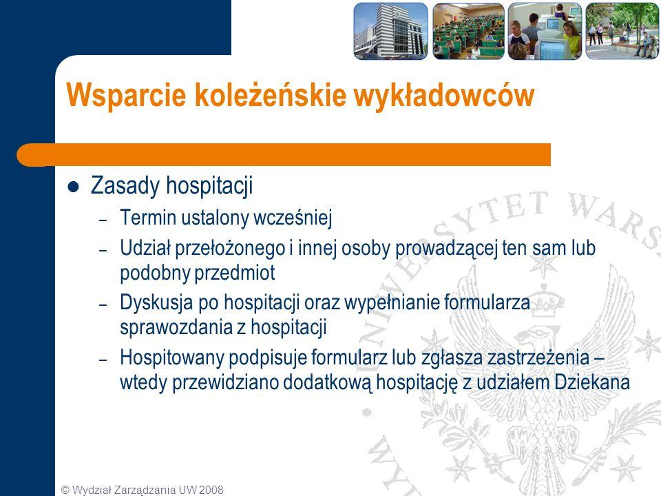 © Wydział Zarządzania UW 2008 Wsparcie koleżeńskie wykładowców Zasady hospitacji – Termin ustalony wcześniej – Udział przełożonego i innej osoby prowa